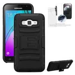 iBank(R) Samsung Galaxy J7 Hard Case with Belt Clip and a kickstand (Black)