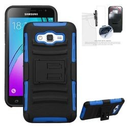 iBank(R) Samsung Galaxy J7 Hard Case with Belt Clip and a kickstand (Blue)